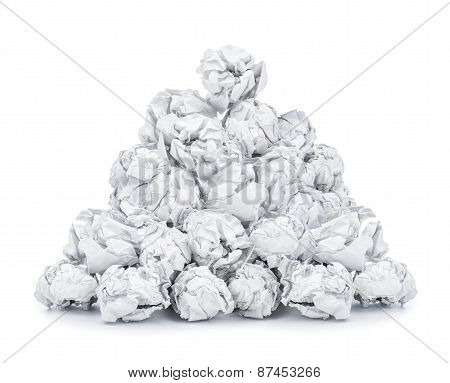 Pile Of Crumpled Paper Isolated On White Background