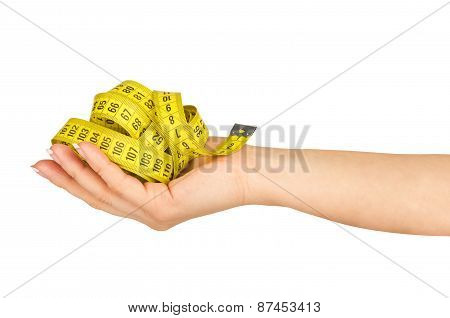 Hand With Measure Tape Isolated On White Background