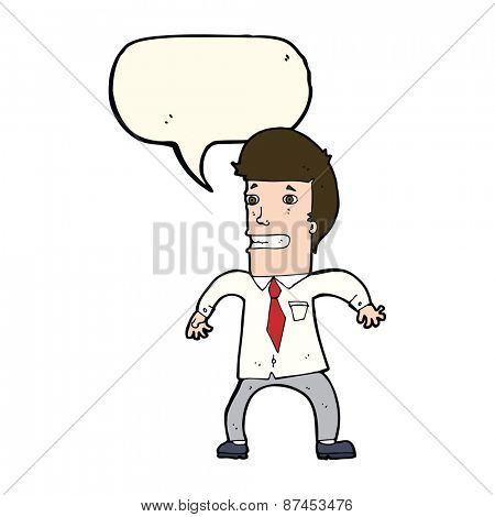 cartoon nervous businessman with speech bubble