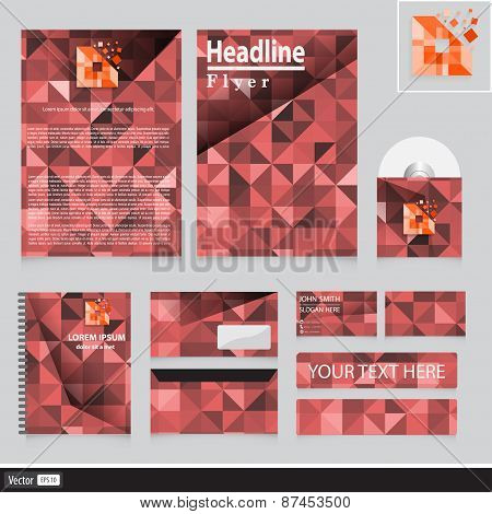 Creative Corporate Identity For Company With Triangles Shape. Vector Business Concept.