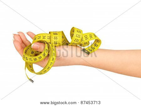 Hand Holding Measuring Tape Isolated On White Background