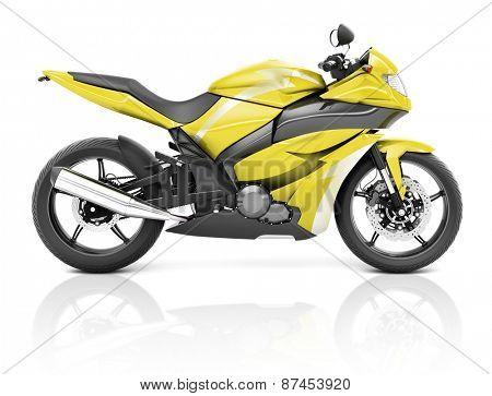3D Image of a Yellow Modern Motorbike