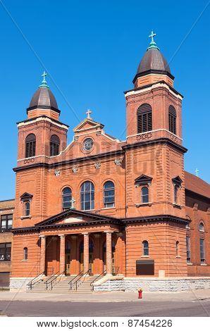 Red Brick Church Corner In Saint Paul