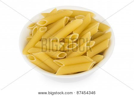 Raw Pasta In Small Bowl