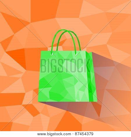 Shopping Bag Polygon Style Design Shadow Vector