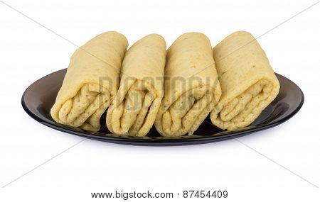 Pancakes With Filling In Dish
