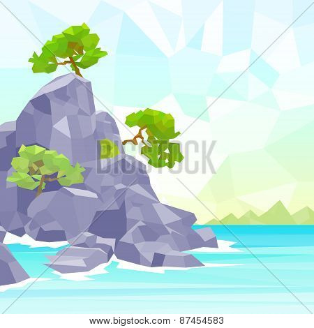 rocks sea shore with tree polygon graphic vector