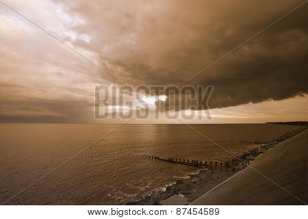 Stormy Skies Over Withernsea, East Cost Yorkshire, Uk
