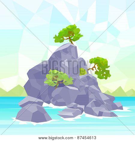 Rocks Sea Shore With Tree Polygon Graphic