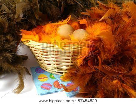 Boiled chicken eggs for Easter