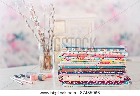 Fabric Pile Of Colorful Folded Textile With Sew Items
