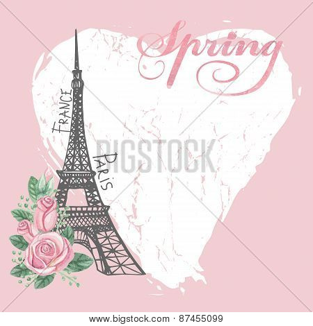 Paris vintage spring card.Eiffel tower,Watercolor rose