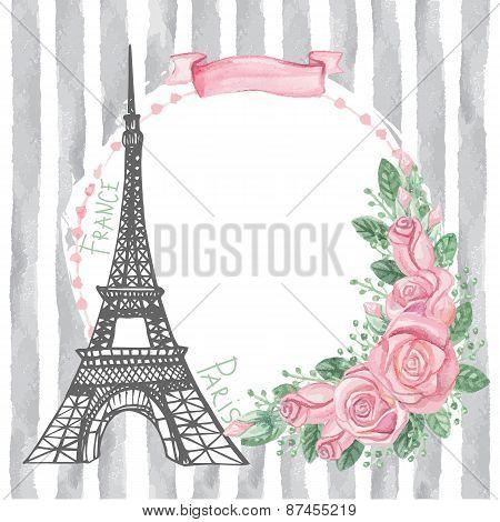 Paris vintage card.Eiffel tower,Watercolor rose,grey strips