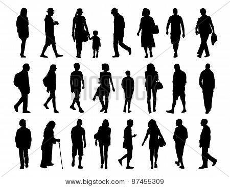 Big Set Of People Walking Silhouettes Set 3