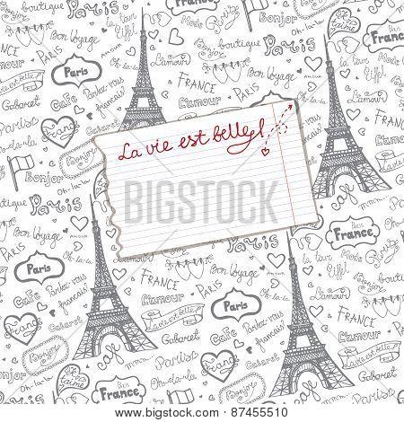 Paris symbols,lettering  background.Hand drawn  sketchy doodle