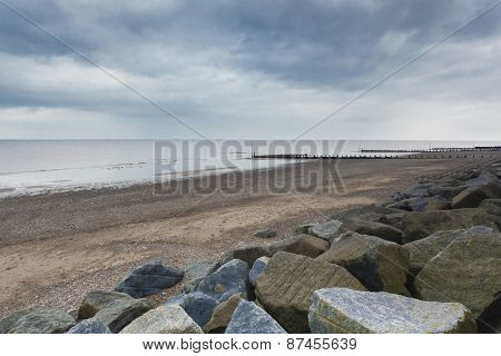 Sea Defences At Withernsea Beach