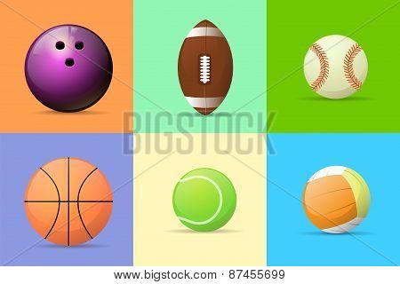 sport ball set flat design vector