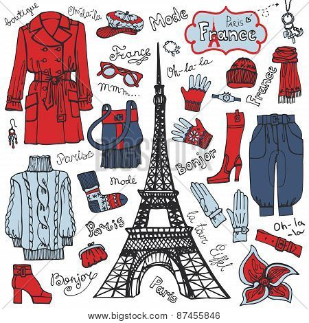 Paris style.Fashion clothing set.Colored tricolor Sketch