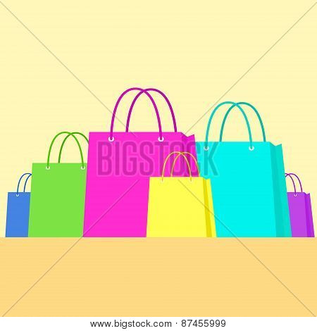 Shopping Bag Colorful Set Flat Design