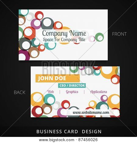 colorful circle business card vector design illustration