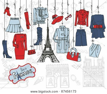 Paris style.Fashion clothing hanging on ropes.Tricolor Sketch