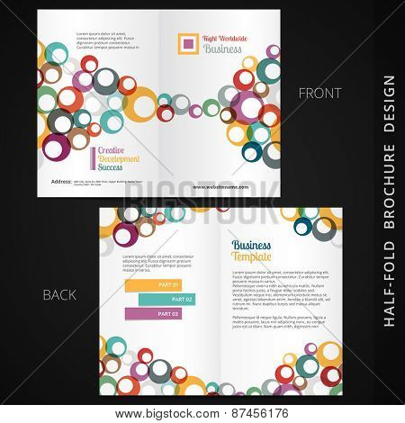 colorful bifold brochure design with circles and space for your text