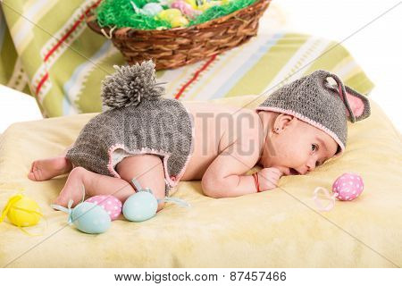 Newborn Baby Girl In Bunny Costume