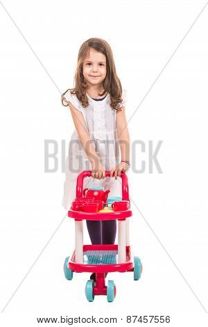 Little Girl Pushing Trolley Pram