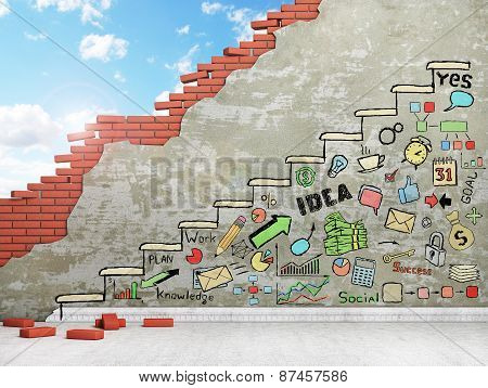 Promotion Concept. Painted Staircase With Draw In The Wall. Business Draw.