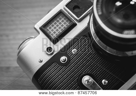 Black And White Macro Of Retro Camera Viewfinder And Lens