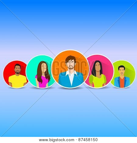 Diverse Group Of People Icon Avatar Man And Woman