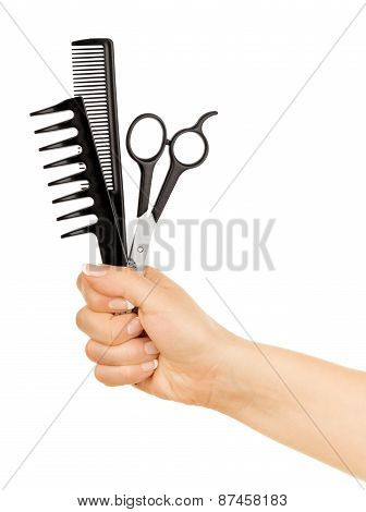 Hairdresser Holds Scissors And Hairbrush For Haircut