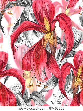 Seamless Exotic Tropical Flowers Background
