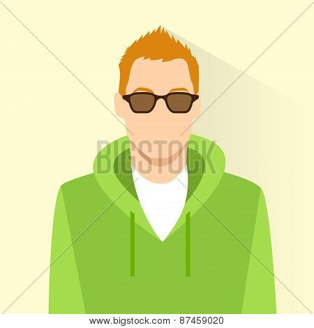 profile icon male wear glasses avatar portrait casual person