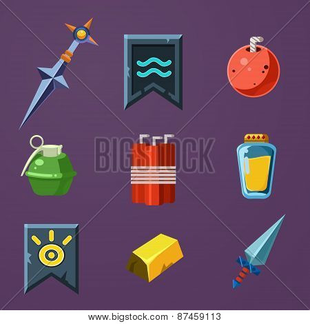 Game Resources Icons Flat Vector Set