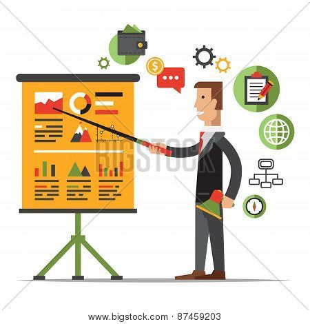 Businessman Gives a Presentation or Seminar. Business Meeting, Training, Coach