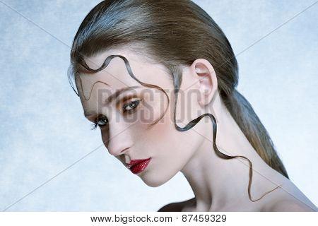 Close-up Beauty Portrait Of Female