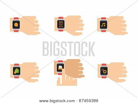 Smartwatch Icons. Vector Illustration of Smart Watches