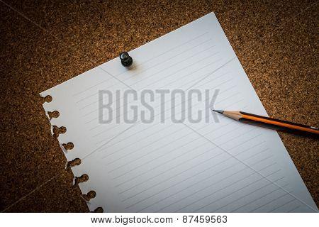 Paper Pin On Cork Board