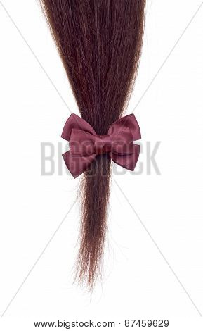 Strand Of Hair On A White Background