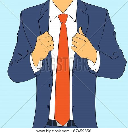 fashion suit business man wear red tie flat design