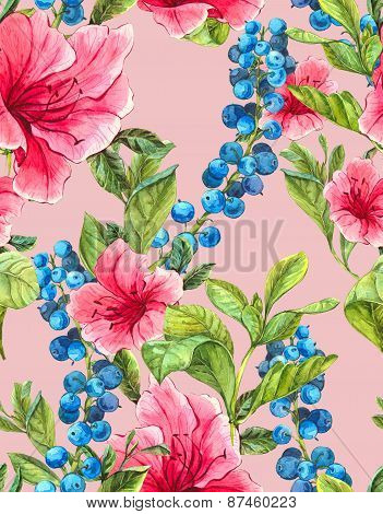Exotic Seamless Background with Pink Tropical Flowers