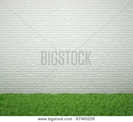 Brick Wall With Green Grass. Blank For Drawing.