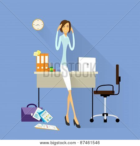 Businesswoman hold hands on temples head, business woman concept of stressed, headache flat