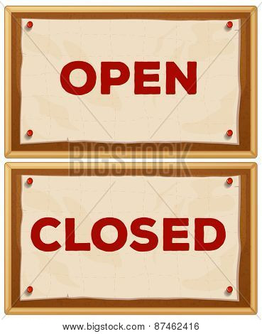 Open and closed signs on the wall