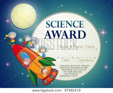 Certificate of excellence template design for science