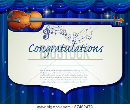 Certificate template design with music background