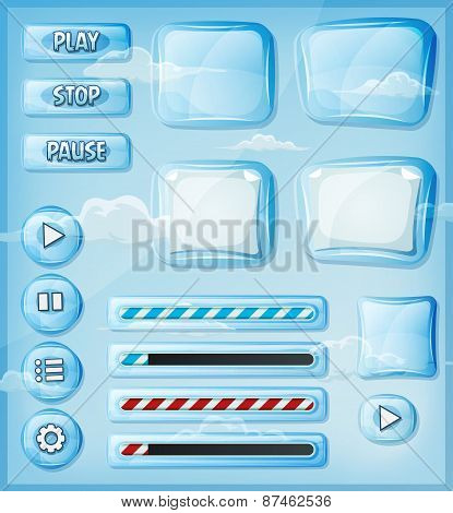 Glass Transparent Icons Set For Ui Game