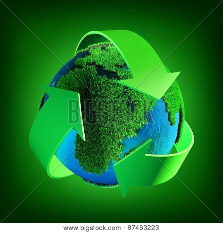 Recycling symbol  on a green background