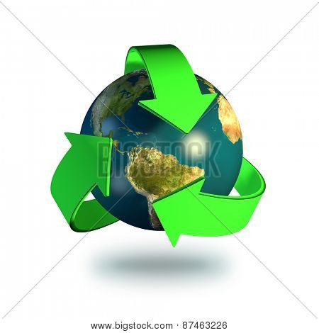 Recycling symbol isolated on a white background